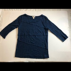 Loft blue heathered 3/4 sleeve sweater